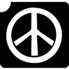 Peace-Logo Tattooschablone für friedvolle Glitzertattoos, 6,5 × 6,2 cm