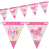 Welcome Baby Girl Wimpelkette mit 24 Wimpeln plus Band, Raumdeko, rosa