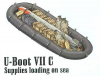 U-Boot VII Supplies loading on sea (food, ammo boxes, boat, 1x torpedo)