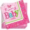 Welcome Baby Girl, kleine Papierservietten, 16er Pck, 25cm, Servietten Baby Shower