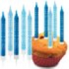 Happy Birthday-Kerzen in Blau, 10er Pack inkl. Kerzenhalter, bedruckt